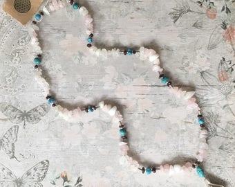 Rose Quartz, Turquoise, Garnet & Sterling Silver Necklace