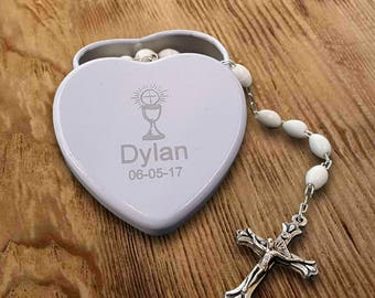 Personalized Rosary Beads tin for First Holy Communion