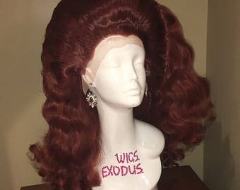 Burgandy Finger Wave Drag Queen Lace-front Wig