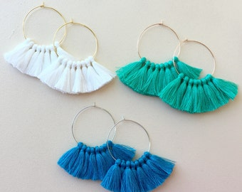 Pick Color(s)/ Lightweight/ Mini Tassel/ 1.75 inch Hoop/ Gold Hoop/ Rose Gold Hoop/ Silver Hoop/ Tassel Earring/ Hoop Earring