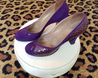Clean, Vintage, 1940's, 1950's, Kalmon, Paramount, Purple, Suede, Reptile, Shoes, Heels, Pumps