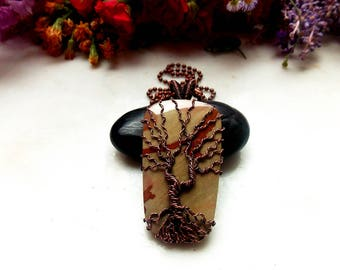owyhee jasper wire wrapped tree of life pendant-copper necklace-wire wrap-wire weave jewelry-wire wrapped stone-handmade pendant-boho