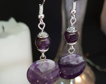 Amethyst earrings Circle - natural Amethyst - stone gems - silver - romantic - boho - Valentine's day