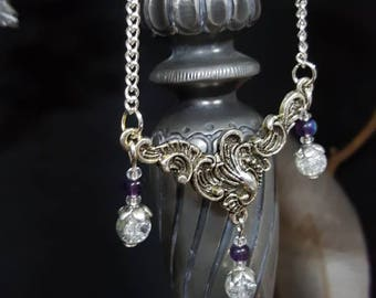 Choker necklace purple Leaf - Victorian - shabby - classic - leaf - art nouveau - art deco style-romantic - Valentine's day