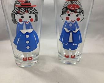 Vintage Pair of Two Sided Red White and Blue Little School Girl and School Boy Glasses