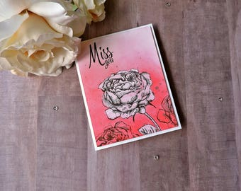 Miss You Greeting Card- Missing You- Goodbye- Smiles Across the Miles- Long Distance- Far Away- I Miss You- With Envelope