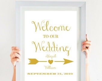 Gold Wedding Welcome Sign Printable Wedding Sign (4x6, 5x7, 8x10, 11x14, 16x20, 18x24, 24x36, A5, A4, A3, A2, A1, A0, Custom) CWS307_1122