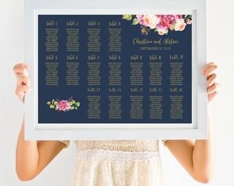 Navy Wedding Seating Chart Sign, Bohemian Wedding Decor, Gold Wedding Calligraphy, Pink Peonies, PDF Digital Download SKU# IDWS502_4013C
