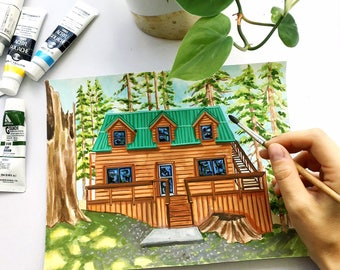 Custom House Portrait, House Painting, House Warming Gift, Floral House, Home Painting, House Illustration