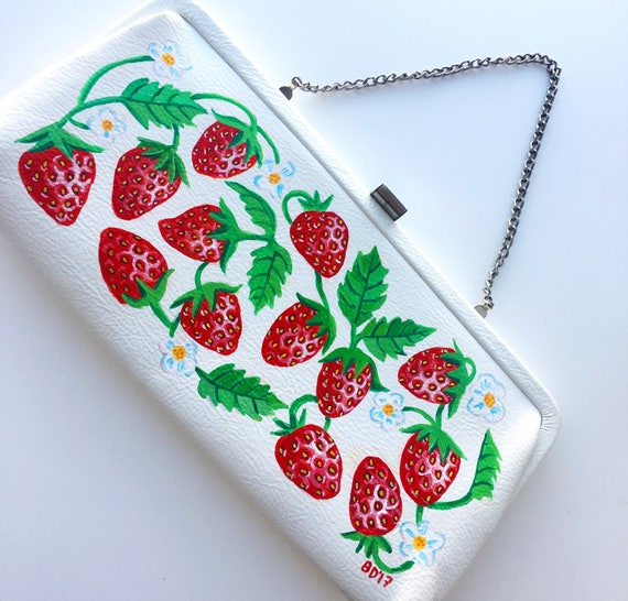 Hand Painted Upcycled Vintage 1960s 1950s Handbag Strawberries Fruit Purse