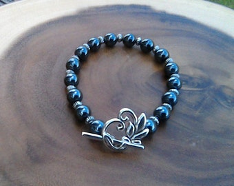 Hematite, Silver and Flower Toggle Bracelet