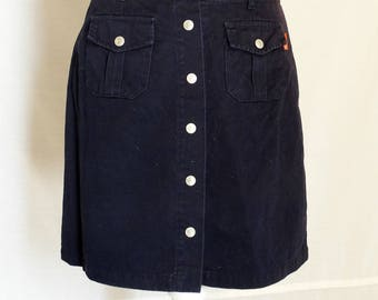 Black Mini Skirt with pockets 90s A-line jean Button Up Grunge Boho Retro Vintage Button Down Small Extra small 1990s
