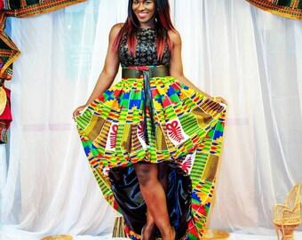 Kente High Low Bubble Skirt African Print Skirt Plus Size Skirt Ankara Clothing For Women Kwanzaa Clothing Afrocentric Skirt Kwanzaa Dress