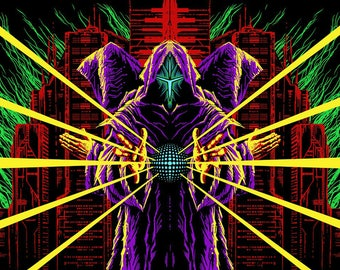 "Cyberpunk Вackdrop ""Neon Masters"" UV blacklight active Fluorescent Wall hanging Decoration synthwave retrowave psychedelic tapestry"
