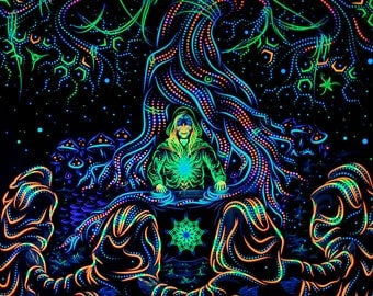 "Psy Вackdrop ""Endless Glade"" UV  blacklight active fluorescent psychedelic tapestry wall hanging decoration goa party visual art"