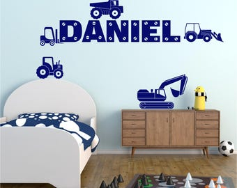 DUMPER TRUCK Construction Digger Personalised Any NAME Boys Childrens Bedroom Vinyl Matt Wall Art Sticker Decal 20 colours* *Two Sizes