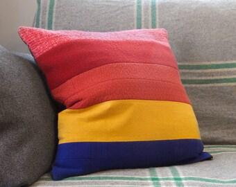 "ROWANA Colorblock Rainbow Cushion Cover – 20"" Large Size Cushion, Upcycled Wool Vintage Fabric, Retro Inspired, Mid-Century Mod Throw Pillow"