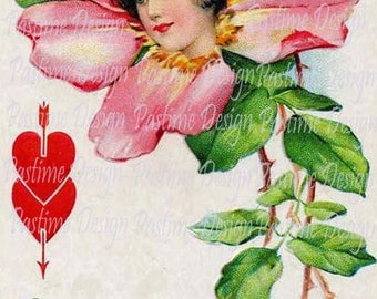Vintage Valentine,Instant download,Vintage Rose Card,vintage Ephemera,Printable love image,vintage download,digital Valentine image,romance