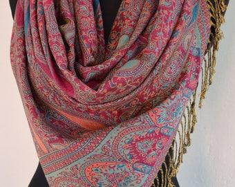 Beautiful pink multicolor Pashmina Scarf, Scarf for Women, Pink Paisley Pashmina Shawl
