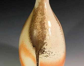 Wood Fired Porcelain Bottle with Ash Drip