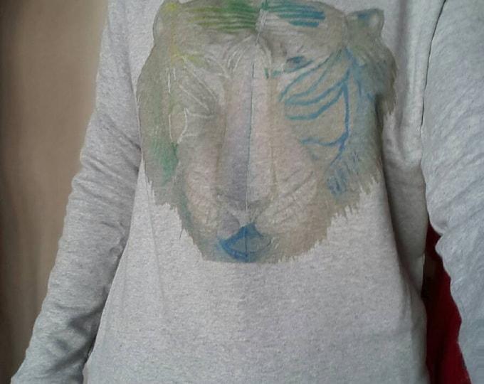 "Printed Sweatshirt women grey ""Tiger"". collar dancer, casual"