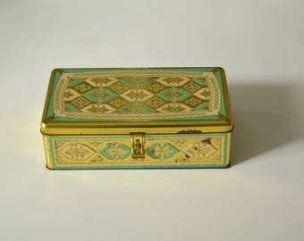 Vintage tin box 1950, gold turquoise red antique Tin bright French biscuit box cookie jar trinket boxes