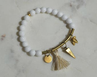 Gemstone bracelet semi-precious White Jade & brass charms (cross-GOLD)