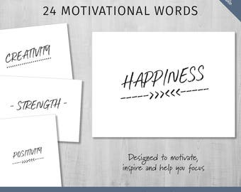 Motivational Words One Word Printable Printable Words Positive Affirmation Balance Strength Creativity Adventure Printable Love Printable