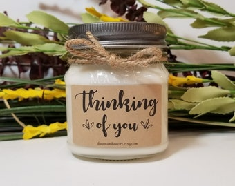 8oz Thinking of You - Sympathy Candle - Missing You Candle - Rememberance Gift - Condolence Gift - Memorial Candle - In Memory - Soy Candle