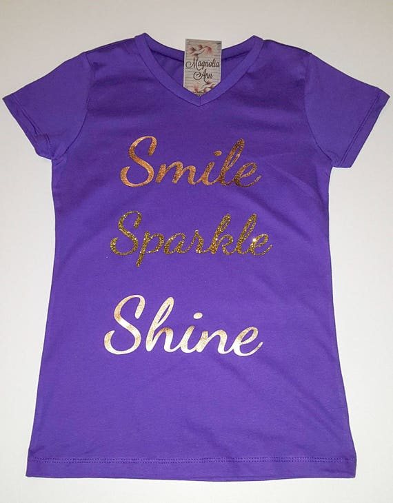 Smile, Sparkle, Shine, Little Girls Fine Jersey V-Neck T-shirt in Sizes XS-Xl in 14 Colors