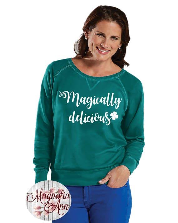 Magically Delicious Shamrock Sweatshirt, Sizes Small-4X, Plus Size Sweatshirt, St Patrick's Day Shirt, St Patrick's Day Sweatshirt