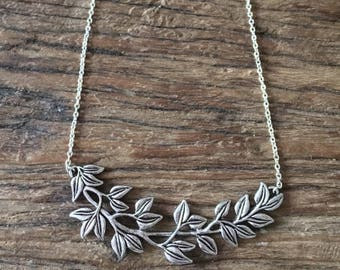 Silver plated leaves branch bib necklace