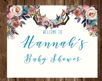 DIGITAL Baby Shower Welcome Sign; Baby Shower Sign Floral Boho Antlers Neutral Boy Girl