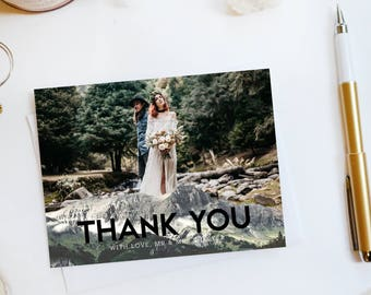 Wedding Thank You Card Custom Photo Wedding Thank You Cards Mountain Wedding Thank You Cards Mountain Thank You Cards Telly2