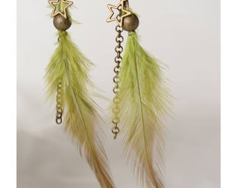 Green feathers green bead feather earrings bronze antique antique bronze accessory