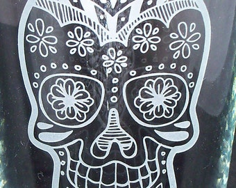 Mexican Sugar Skull Etched on 20oz Wine Glass Free Shipping