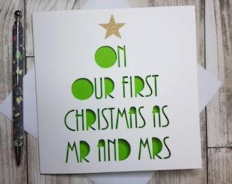 First Christmas As Mr and Mrs, First Christmas Card, Mr and Mrs Christmas Card, First Christmas Married, Husband Christmas Card, Wife Card