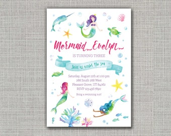Mermaid Invitation / Mermaid Party / Mermaid Birthday / Under the Sea