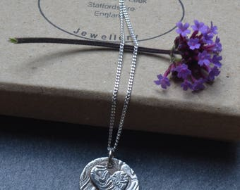 Mothers day, Handmade fine silver button heart necklace, Mothers day gift, bridesmaids gifts