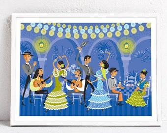 Flamenco. Spanish scene. Print 30 x 40 cm.