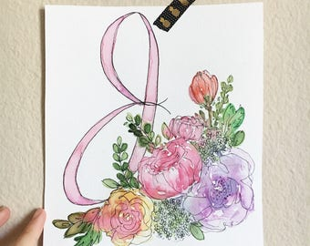 Monogram Floral Custom Watercolor