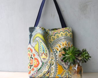 Tote Bag - Shopping Bag - Handbag - Gifts for her - Birthday - School Tote -Beach Bag- Colourful -Paisley- Summer Bag - Green- Orange -Indie