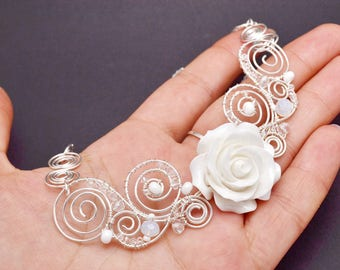 White flower necklace Bridesmaid jewelry Necklace rose flower White rose necklace Rose wedding necklaces silver wedding jewelry elegant