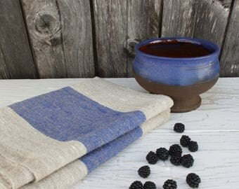 Hand face towel Linen striped towel Kitchen towel Blue grey stripes Thick linen towel Pure linen towel Rustic linen towel Beach cottage Gift