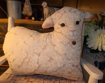 country sheep, pillow tuck, baby lamb, farmhouse kitchen, shelf sitter, primitive sheep, child's bedroom, farm animals, cupboard tuck