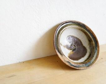 handmade earth-toned ceramic dip bowl