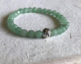 Faceted Aventurine Mala Bracelet / yoga jewelry /