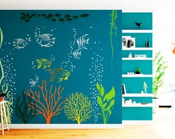 Underwater Wall Decal Under The Sea Aquarium Vinyl Large Art Decor Murals  ABSL1 Part 66