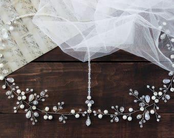 Bridal pearl tiara, Bridal indian headpiece, Bridal crystal crown, Wedding pearl headpiece, White bridal tiara, Wedding crown