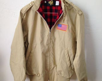 New Without Tag - Vintage King Louie Cafe Racer Buffalo Plaid Flannel Lined Jacket - Sz L - USA